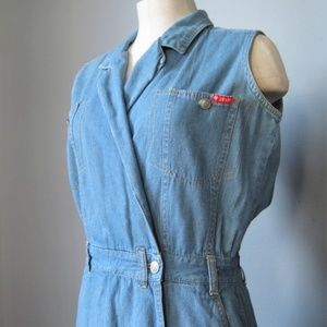 Vintage Chambray Denim Romper Size Small